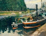 Art-print-barges-at-pontoise-pissarro-55x44in-horizontal-image-on-paper-canvas-