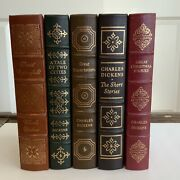 5 Volume Book Lot Easton Press Collectors Charles Dickens Leather Bound Gilded