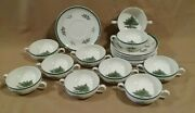 10 Spode Christmas Tree Cream Soup Bowls With Saucers