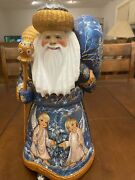 Christmas Santa Russian Wooden Hand Carved Hand Painted Signed 12 In Tall