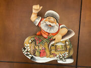 Christmas Santa Russian Wooden Hand Carved Hand Painted 9 Tall 9 Wide