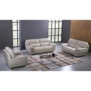 Ek099 Light Gray Color With Italian Leather Chair And Wooden Legs
