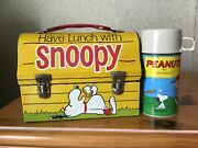 Vintage Snoopy Lunchbox And Thermos