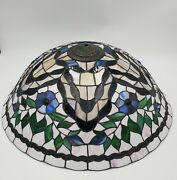 Vtg 21.5 Style Stained Glass Lamp Shade Hanging Table Floral Jeweled