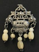 Antique Chinese Figural Sterling Silver Jade Pendant For Necklace Vase Lotus