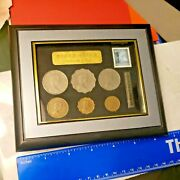 Vintage Shadow Box With Queen Elizabeth Ii Stamp And Coin Collection