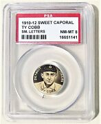1910-12 Sweet Caporal Pin Psa 8 Ty Cobb Small Letters Detroit Tigers