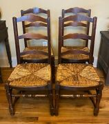 Set Of 4 Antique French Oak Country Ladderback Chairs W Rush Seats - We Ship