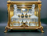 Antique French Brass Tantalus Cabinet Caddy Boxandcut Glass Cordial Decanter Set