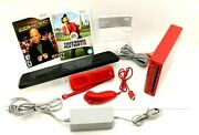 Nintendo Red Wii Console Wireless Sensor Bar Cords Rvl-001usa W/games - Tested