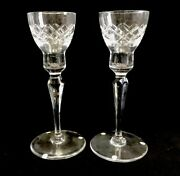 Pair Orrefors Clear Glass Tall Taper Candle Holders Candlesticks Sweden Signed