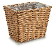 25cm Brown Willow Flower Basket Plastic Lined Rattan Wicker Rectangle Planter
