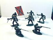 Lot Of Ring Hand Civil War Confederate Soldiers With Marx Accessories