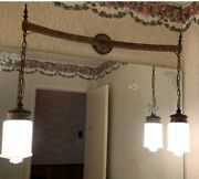 Antique Double Hobnail Milk Glass Hanging Swag Lamp