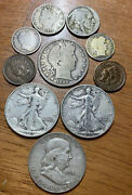 Qty 10 - Us Coin Lot -90 Us Halves Dimes, Indian Cents, Buffalo And V Nickel