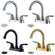 4 Inch Bathroom Sink Faucet With Pop Up Drain 3 Hole Lavatory Mixer Tap High Arc