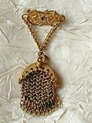 Incredibly Rare French Mini Victorian Coin Purse Brooch Fully Functional -