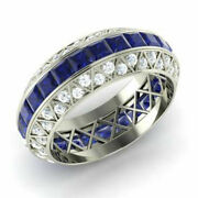 Solid 18k White Gold 3.50 Ct Natural Diamond Sapphire Gemstone Ring Size 6 7 8