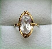 Vintage Russian Russia Ussr 18k 750 Yellow Gold Rock Crystal Solitaire Ring