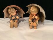 """Rare Authentic Signed Hummel 5"""" Umbrella Boy And Girl Must See No Reserve Wow"""