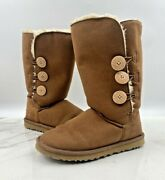 Ugg Womens Bailey Button 1873 Brown Triplet Chestnut Tall Winter Boots Size 7