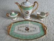 Price Drop Fab Antique 24k Gold Gilt Hand-painted Coffee/tea Service With Tray