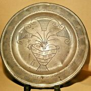 Antique Wrigglework Pewter Marriage Plate James Hitchmann London Ca 1720