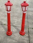 2 Vintage Christmas Lantern Lamp Post Candle Blow Mold Lights 1969 Empire 38