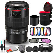 Canon Ef 100mm F/2.8l Macro Is Usm Lens Bundle +cleaning Kit Filter Kits And P