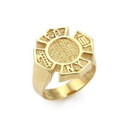 New York Fire Fighter Textured Design 14k Yellow Gold Ring