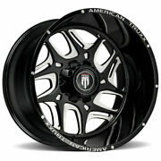 24x14 Black Milled Wheels American Truxx At1900 Sweep 8x180 -76 Set Of 4 125.