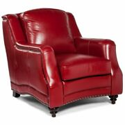 Lea Unlimited Victoria Traditional Leather Accent Chair In Red