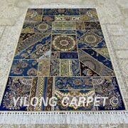 Yilong 4and039x6and039 Handmade Silk Carpet Patchwork Home Interior Luxury Area Rug Z366a