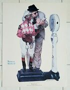 Signed Norman Rockwell Print Weighing In Race Jockey Horse Racing Coa Poster