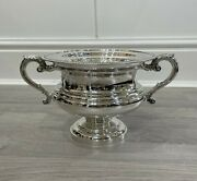 Antique Large George V Hallmarked 1927 Sterling Silver Twin Handle Bowl 945g