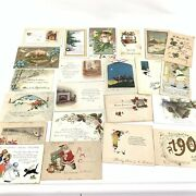 Lot 22 Vintage Antique Christmas Holiday Santa Claus Postcards Early 1900s 6210