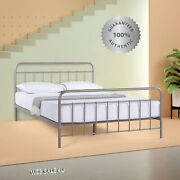 Metal Bed Frame King Farmhouse Vintage Iron Rustic Gray Modern Country Style