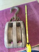 """Antique 14"""" Wood And Steel/cast Iron Barn Double Box Pulley Block And Tackle Wow"""