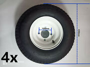 8 White Steel Golf Cart Wheels And 18x8.50-8 Turf/ Street Tires - Set Of 4