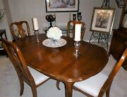 Vintage Ethan Allen Country French Dining Table Set W/4 Splat Back Side Chairs