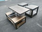 Ashley Furniture Burladen Lift Top Nail Head Studs 3 Piece Coffee Table Set End