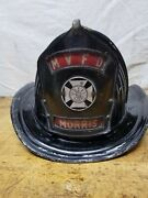 Vintage Cairns And Brothers Fire Fighters Helmet Firemans Hat Aluminum Morris Il