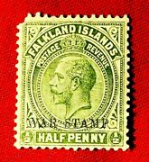 Falkland Islands 1918 1920 ½d Half Penny War Stamp Old Rare Collectible Stamps