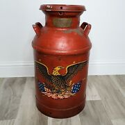 Vintage Patriotic Red Painted Eagle Metal Milk Can 24 Tall Rare