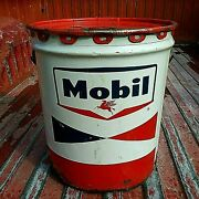 Vintage Mobil Oil Can Empty 5 Gal Gallon Motor Auto Mancave Garage Advertising