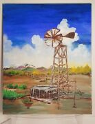 ✨ Oil Painting Wind Mill Generator Land Farm Mountains 20x16 Read Estate Sale