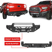Durable Steel Front + Rear Bumpers Combo W/ Winch Plate For Toyota Tacoma 16-21