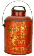 Rare Antique Tin Can Milk Maid Coffee 5 Lb. Pail W/ Lid, Wire Bail Handle 11