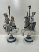 Lladro Girl And Boy On Carousel Horse 1469,1470 Porcelain Figurine Collectible