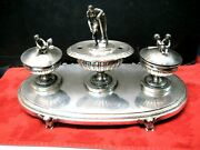 Antique Italian Roman 900 Silver Ink Well And Sander With Romulus/remus/diana Fig